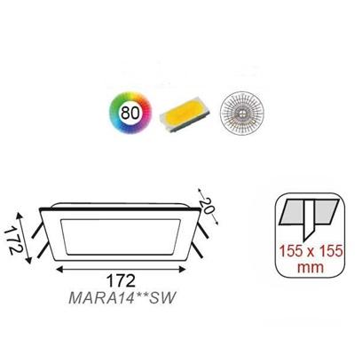LED модул за вграждане 20w, 3000k, 1440lm, 225 х 225 х 20 мм, Бял, 41447